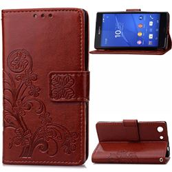 Embossing Imprint Four-Leaf Clover Leather Wallet Case for Sony Xperia Z3 Compact - Brown
