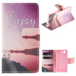Seaside Scenery PU Leather Wallet Case for Sony Xperia Z3 Compact Mini