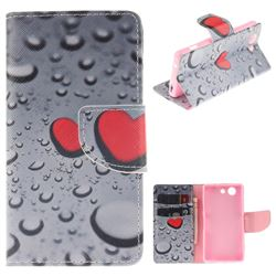 Heart Raindrop PU Leather Wallet Case for Sony Xperia Z3 Compact Mini