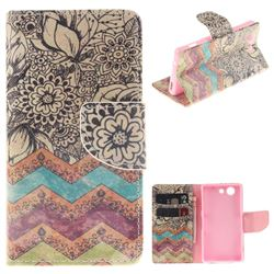Wave Flower PU Leather Wallet Case for Sony Xperia Z3 Compact Mini