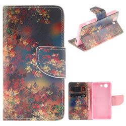 Colored Flowers PU Leather Wallet Case for Sony Xperia Z3 Compact Mini