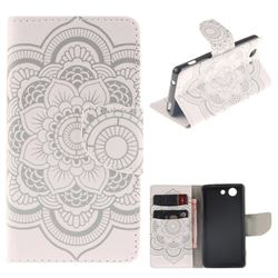 White Flowers PU Leather Wallet Case for Sony Xperia Z3 Compact Mini