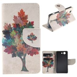 Colored Tree PU Leather Wallet Case for Sony Xperia Z3 Compact Mini