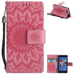 Embossing Sunflower Leather Wallet Case for Sony Xperia Z3 Compact Mini - Pink