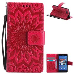 Embossing Sunflower Leather Wallet Case for Sony Xperia Z3 Compact Mini - Red