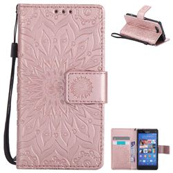 Embossing Sunflower Leather Wallet Case for Sony Xperia Z3 Compact Mini - Rose Gold