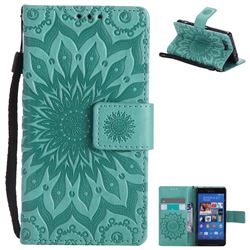Embossing Sunflower Leather Wallet Case for Sony Xperia Z3 Compact Mini - Green
