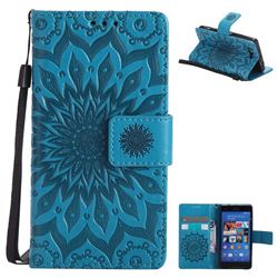 Embossing Sunflower Leather Wallet Case for Sony Xperia Z3 Compact Mini - Blue