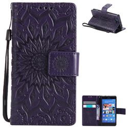 Embossing Sunflower Leather Wallet Case for Sony Xperia Z3 Compact Mini - Purple