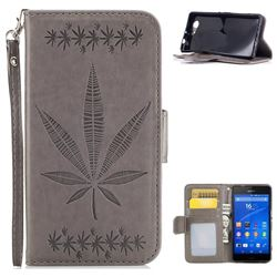 Intricate Embossing Maple Leather Wallet Case for Sony Xperia Z3 Compact Mini - Gray