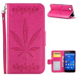 Intricate Embossing Maple Leather Wallet Case for Sony Xperia Z3 Compact Mini - Rose