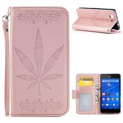 Intricate Embossing Maple Leather Wallet Case for Sony Xperia Z3 Compact Mini - Rose Gold
