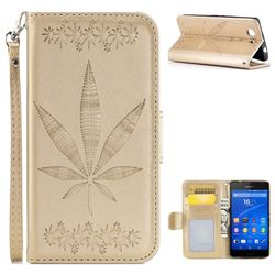 Intricate Embossing Maple Leather Wallet Case for Sony Xperia Z3 Compact Mini - Champagne