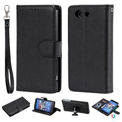 Retro Greek Detachable Magnetic PU Leather Wallet Phone Case for Sony Xperia Z3 Compact Mini - Black