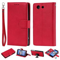 Retro Greek Detachable Magnetic PU Leather Wallet Phone Case for Sony Xperia Z3 Compact Mini - Red
