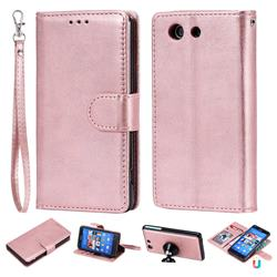 Retro Greek Detachable Magnetic PU Leather Wallet Phone Case for Sony Xperia Z3 Compact Mini - Rose Gold