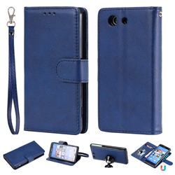 Retro Greek Detachable Magnetic PU Leather Wallet Phone Case for Sony Xperia Z3 Compact Mini - Blue