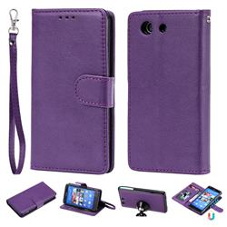 Retro Greek Detachable Magnetic PU Leather Wallet Phone Case for Sony Xperia Z3 Compact Mini - Purple