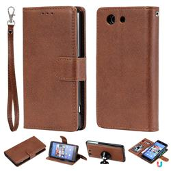 Retro Greek Detachable Magnetic PU Leather Wallet Phone Case for Sony Xperia Z3 Compact Mini - Brown