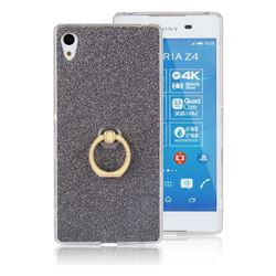 Luxury Soft TPU Glitter Back Ring Cover with 360 Rotate Finger Holder Buckle for Sony Xperia Z4 Z3+ E6553 E6533 - Black