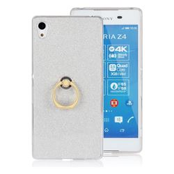 Luxury Soft TPU Glitter Back Ring Cover with 360 Rotate Finger Holder Buckle for Sony Xperia Z4 Z3+ E6553 E6533 - White