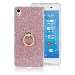 Luxury Soft TPU Glitter Back Ring Cover with 360 Rotate Finger Holder Buckle for Sony Xperia Z4 Z3+ E6553 E6533 - Pink