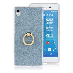 Luxury Soft TPU Glitter Back Ring Cover with 360 Rotate Finger Holder Buckle for Sony Xperia Z4 Z3+ E6553 E6533 - Blue