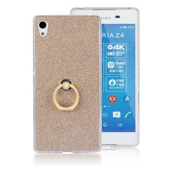 Luxury Soft TPU Glitter Back Ring Cover with 360 Rotate Finger Holder Buckle for Sony Xperia Z4 Z3+ E6553 E6533 - Golden