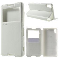 Roar Korea Noble View Leather Flip Cover for Sony Xperia Z4 Z3+ E6553 E6533 - White