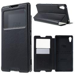 Roar Korea Noble View Leather Flip Cover for Sony Xperia Z4 Z3+ E6553 E6533 - Dark Blue