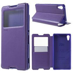Roar Korea Noble View Leather Flip Cover for Sony Xperia Z4 Z3+ E6553 E6533 - Purple