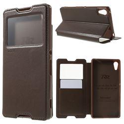 Roar Korea Noble View Leather Flip Cover for Sony Xperia Z4 Z3+ E6553 E6533 - Brown