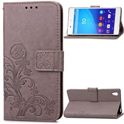 Embossing Imprint Four-Leaf Clover Leather Wallet Case for Sony Xperia Z4 Z3+ E6553 E6533 - Gray
