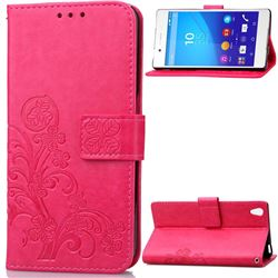 Embossing Imprint Four-Leaf Clover Leather Wallet Case for Sony Xperia Z4 Z3+ E6553 E6533 - Rose