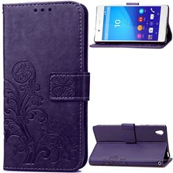 Embossing Imprint Four-Leaf Clover Leather Wallet Case for Sony Xperia Z4 Z3+ E6553 E6533 - Purple