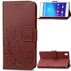 Embossing Imprint Four-Leaf Clover Leather Wallet Case for Sony Xperia Z4 Z3+ E6553 E6533 - Brown