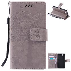 Embossing Butterfly Tree Leather Wallet Case for Sony Xperia Z4 Compact Mini - Grey
