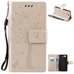 Embossing Butterfly Tree Leather Wallet Case for Sony Xperia Z4 Compact Mini - Champagne
