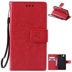 Embossing Butterfly Tree Leather Wallet Case for Sony Xperia Z4 Compact Mini - Red
