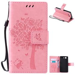 Embossing Butterfly Tree Leather Wallet Case for Sony Xperia Z4 Compact Mini - Pink