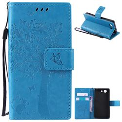 Embossing Butterfly Tree Leather Wallet Case for Sony Xperia Z4 Compact Mini - Blue