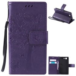Embossing Butterfly Tree Leather Wallet Case for Sony Xperia Z4 Compact Mini - Purple