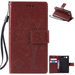 Embossing Butterfly Tree Leather Wallet Case for Sony Xperia Z4 Compact Mini - Brown