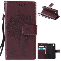 Embossing Butterfly Tree Leather Wallet Case for Sony Xperia Z4 Compact Mini - Coffee