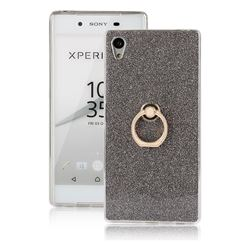 Luxury Soft TPU Glitter Back Ring Cover with 360 Rotate Finger Holder Buckle for Sony Xperia Z5 / Z5 Dual - Black