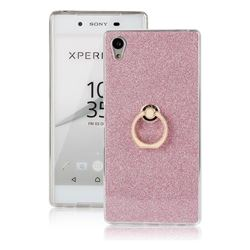 Luxury Soft TPU Glitter Back Ring Cover with 360 Rotate Finger Holder Buckle for Sony Xperia Z5 / Z5 Dual - Pink