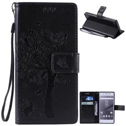Embossing Butterfly Tree Leather Wallet Case for Sony Xperia Z5 / Z5 Dual - Black