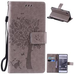 Embossing Butterfly Tree Leather Wallet Case for Sony Xperia Z5 / Z5 Dual - Grey