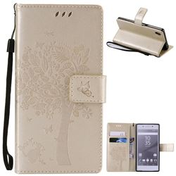 Embossing Butterfly Tree Leather Wallet Case for Sony Xperia Z5 / Z5 Dual - Champagne