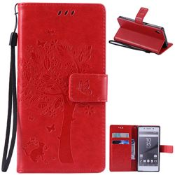 Embossing Butterfly Tree Leather Wallet Case for Sony Xperia Z5 / Z5 Dual - Red